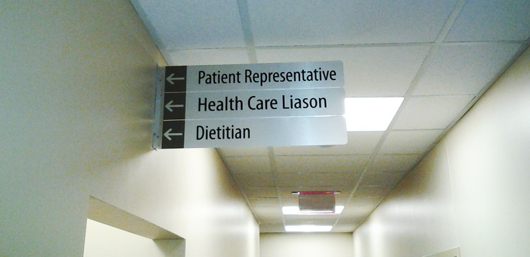 Lead the way through your office building with custom directional signs that reflect your company culture and style.