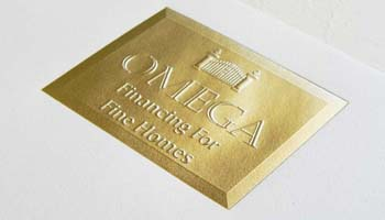 Foil Stamping is a heated die stamped onto foil, making it adhere to the surface and leaving the image on the paper.