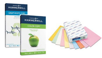 Plain copier paper or color digital papers available in white or large selection of colors. Plain, matte, dull & gloss finishes. All sizes.