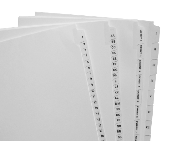 Huge selection of letter & legal size Avery style tabs in stock.