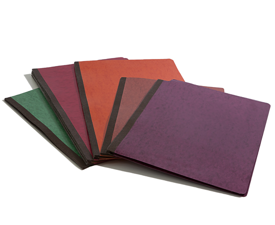 Pressboard folders available in 18 different color stocks and tyvek gusset expansions.