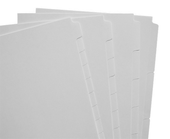 1/3 cut, 1/5 cut, 1/8 cut, 1/10 cut and more. Plain and mylar coated tabs. Letter, legal & A4 sizes available.