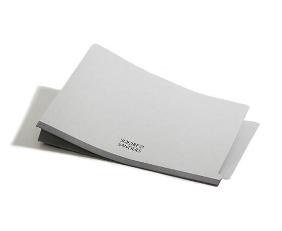 Custom imprinted pressboard folders with firm name on the front panel.