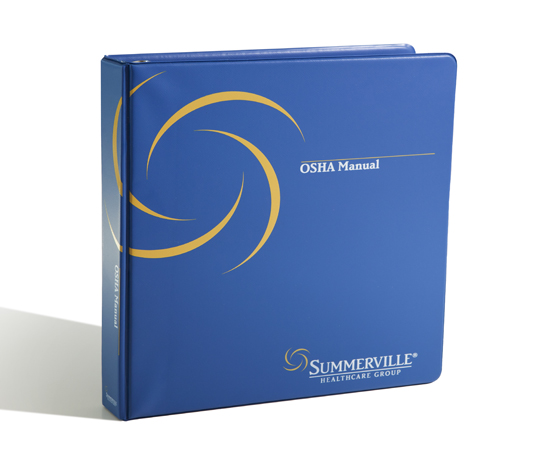 Logo-imprinting, foil-stamping or screen printing.  Available in all colors, sizes, D-ring, or O-ring.