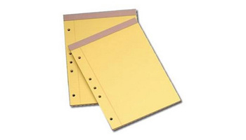 Two or three hole drilled pads for placing sheets in binders.