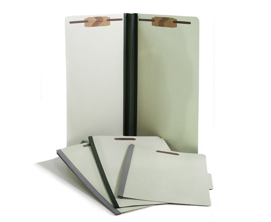 Heavy duty pressboard folders in letter and legal sizes. 1/3 cut, 1/5 cut and straight cut with tyvek expansions.