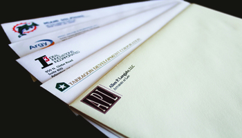 Custom envelopes engraved, embossed, foil stamped, raised printed, offset print, or digital printed matching your firm-wide stationery.