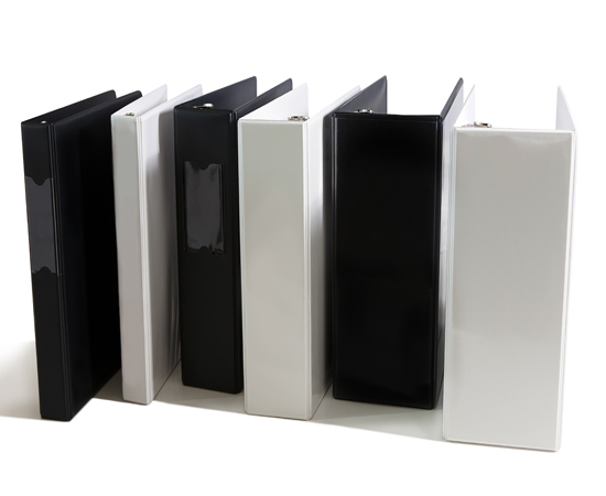 Stock binders available in all sizes, with clear vue or spine label holders. Available in all colors, sizes, D-ring, or O-ring.