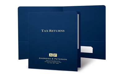 8 3/4 x 11 3/4 Tax Folder with one 3 1/4 left pocket and a 1 1/8